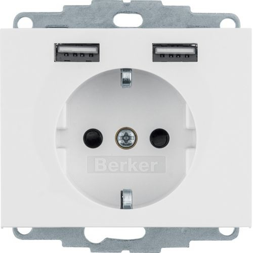 Berker - 48037009 - Steckdose SCHUKO/USB K.1