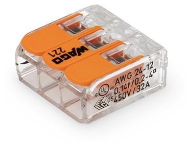 Wago - 221-413 - 3-Leiter-Verbindungsdosenklemme 4mm²