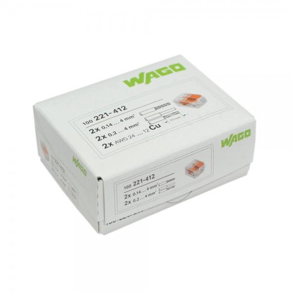 Wago - 221-412_VPE - 100x 2-Leiter-Verbindungsdosenklemme 4mm²