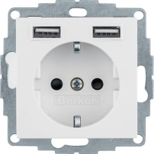 Berker - 48031909 - Steckdose mit USB-Ladebuchsen S.1/B.3/B.7