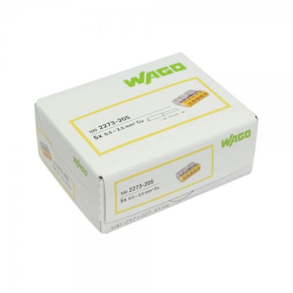 Wago - 2273-205_VPE - 100x 5-Leiter-Verbindungsdosenklemme 2,5mm²
