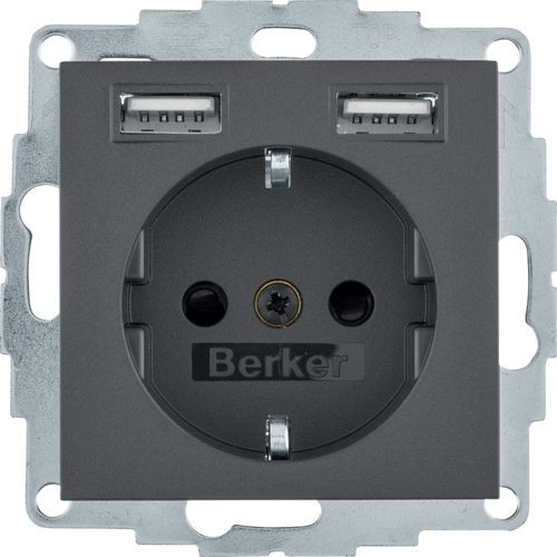 Berker - 48031606 - Steckdose mit USB-Ladebuchsen S.1/B.3/B.7