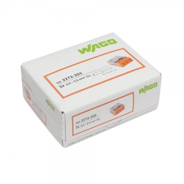 Wago - 2273-203_VPE - 100x 3-Leiter-Verbindungsdosenklemme 2,5mm²