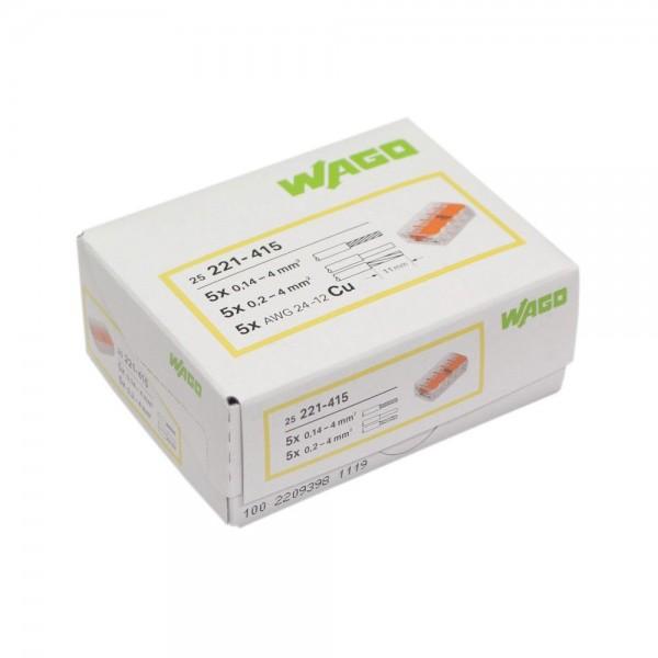 Wago - 221-415_VPE - 25x 5-Leiter-Verbindungsdosenklemme 4mm²