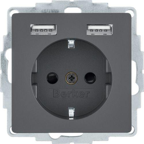 Berker - 48036086 - Steckdose SCHUKO/USB Q.1/Q.3